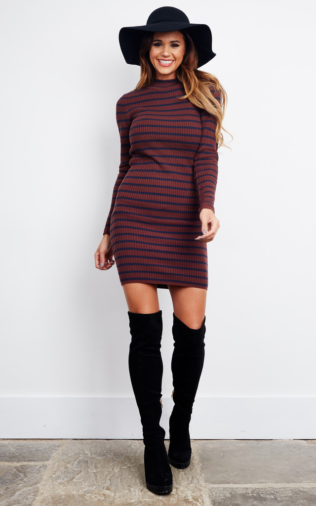Decadent Chocolate Roll Neck Striped Knit Dress by Noisy May