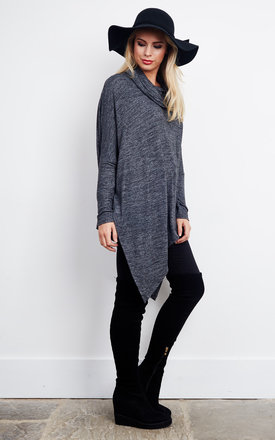 MIE – Asymmetric Roll Neck Black Slouch Top by Blue Vanilla