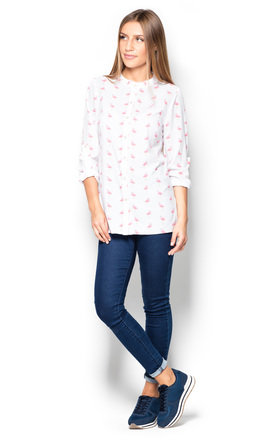 Ecru flamingo print shirt by KATRUS
