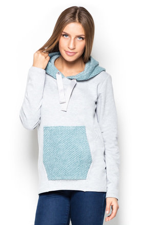 Grey and green hoodie by KATRUS