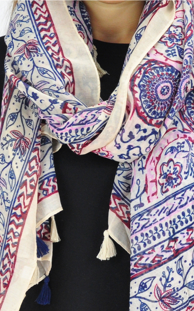 FLORAL PRINT TASSEL SCARF by GOLDKID LONDON