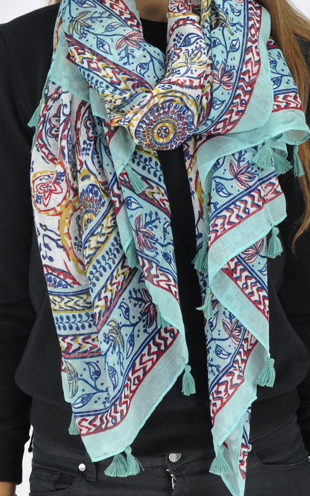 Printed scarf in mint green by GOLDKID LONDON