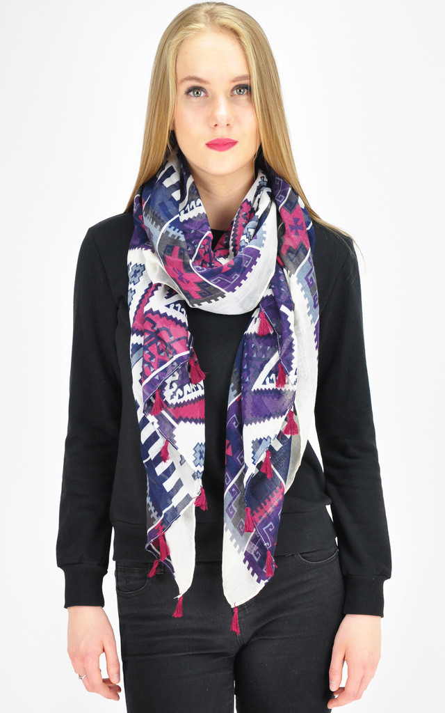 IKAT PRINT TASSEL SCARF by GOLDKID LONDON