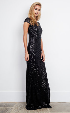 Black Swirl Sequin Embellished Maxi Dress by D.Anna