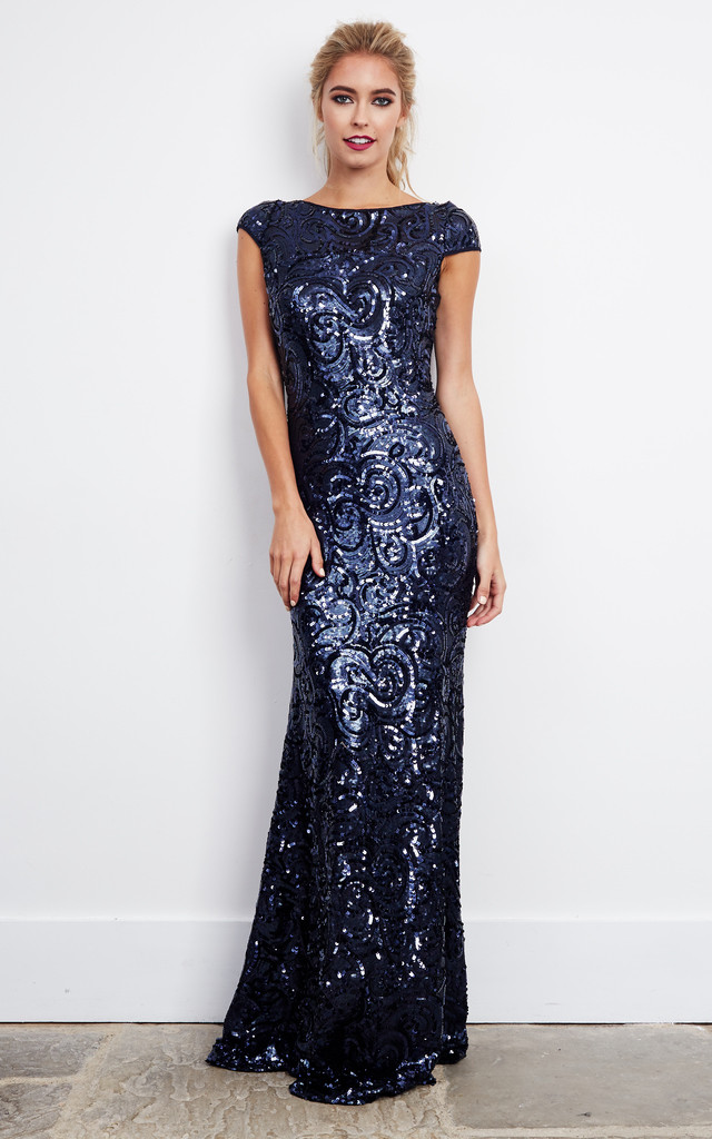 49ced57cc4a Navy Sequin Embellished Maxi Dress by D.Anna