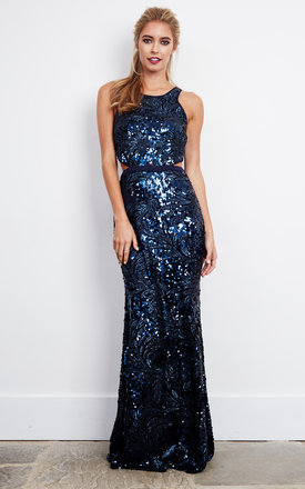 Blue Sequin Embellished Maxi Dress with cut-out deail by D.Anna