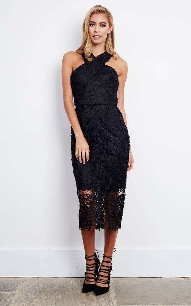Cross Front Lace Midi Dress in Black by D.Anna
