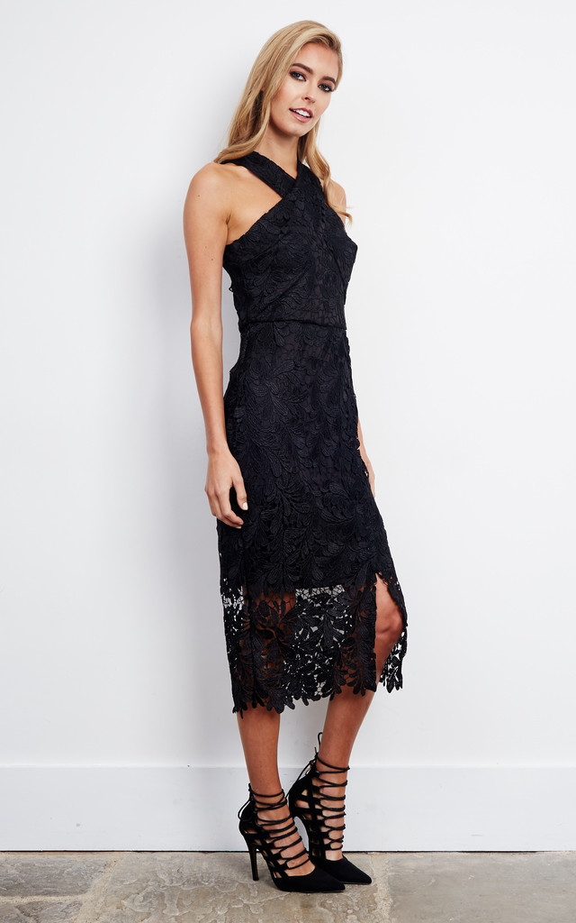 Cross Front Lace Midi Dress In Black Silkfred