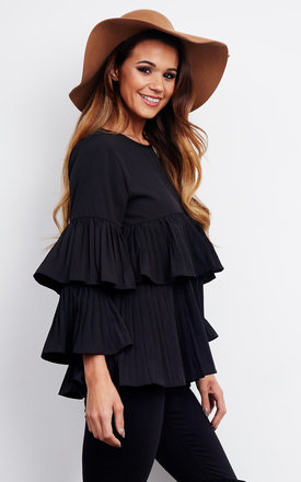 Black Frill Sleeve Pleated Blouse by Bella and Blue