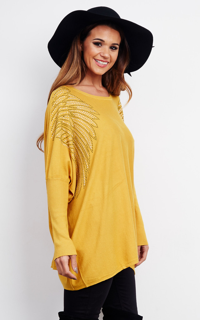 Mustard Diamante Shoulder Swing Top by Lilah Rose