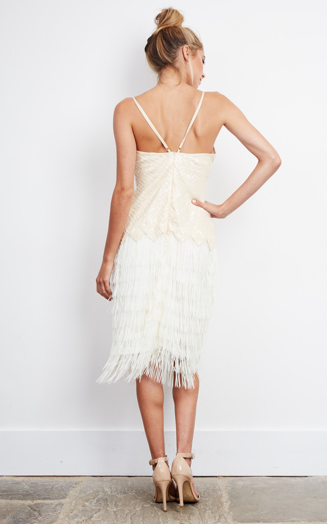 Nude Sequin Embellish& Fringe  Flapper Dress by D.Anna