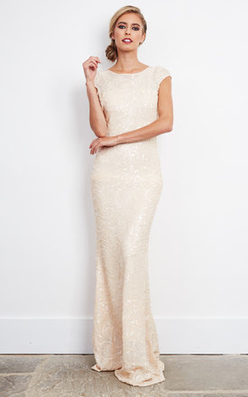 Nude Sequin Embellished Maxi Dress by D.Anna