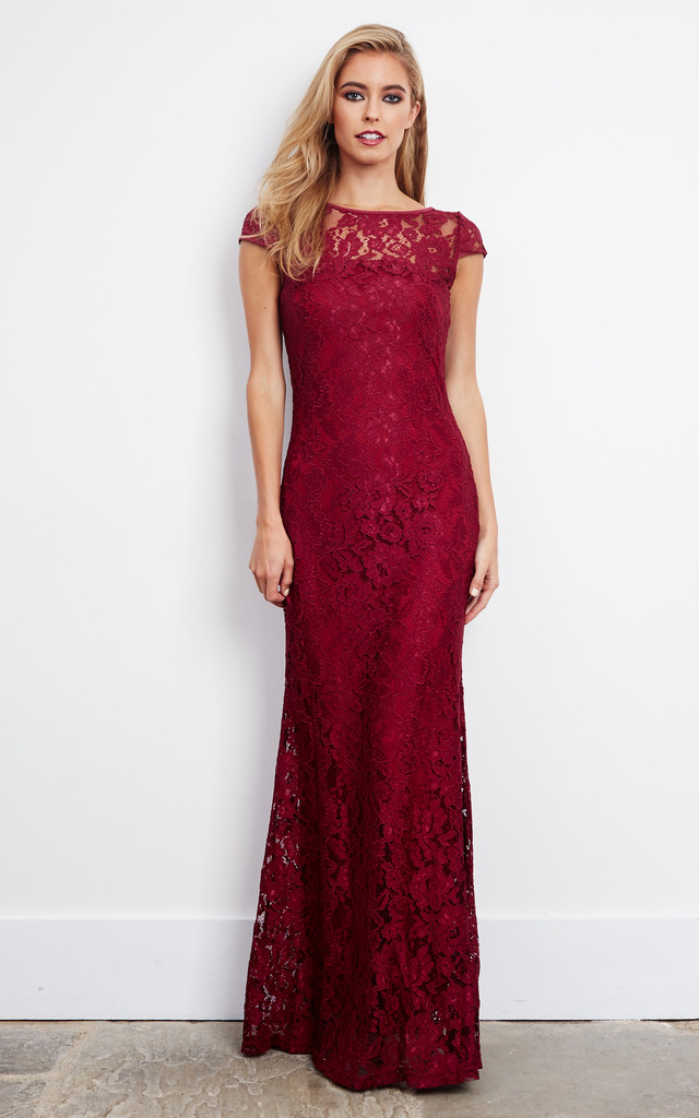 2d0132420f Corded Lace Maxi Dress In Burgundy | D.Anna | SilkFred