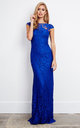 Blue Corded lace Maxi Dress by D.Anna