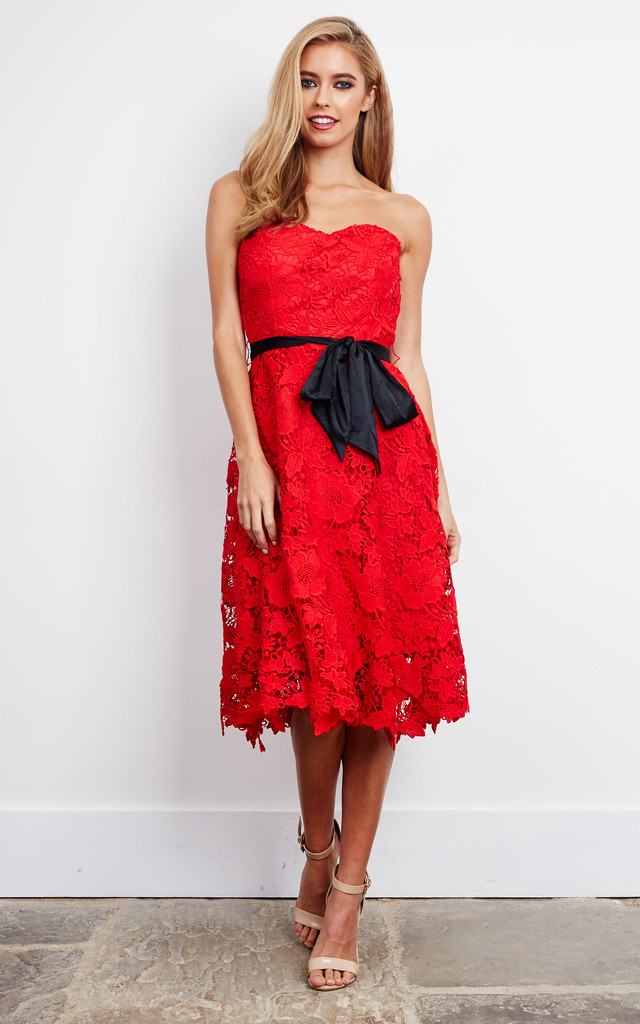 Sweetheart Lace Midi Dress in Red by D.Anna