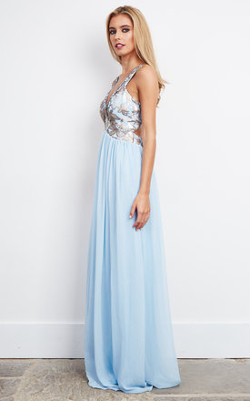 Plunge Neck Sequin Embellished Maxi Dress by D.Anna