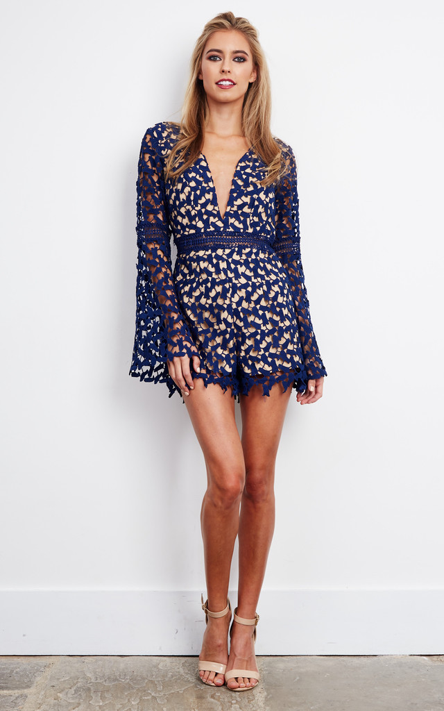 Navy lace V Neck Playsuit with Belt by Love Triangle