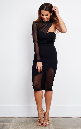 Black Mesh One Sleeve Bodycon Midi Dress by Ginger Fizz Product photo