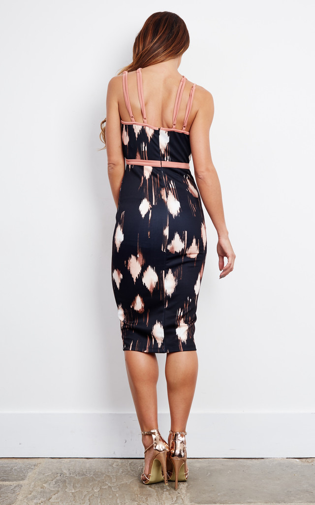 Halter Neck Black Print Midi Dress with Nude Trim by Ginger Fizz