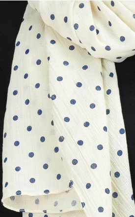 Polka Dot Printed Scarf in White by GOLDKID LONDON