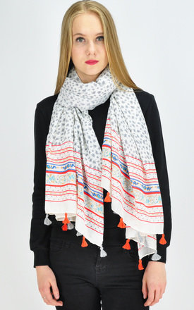 Tassel Scarf in red/grey by GOLDKID LONDON