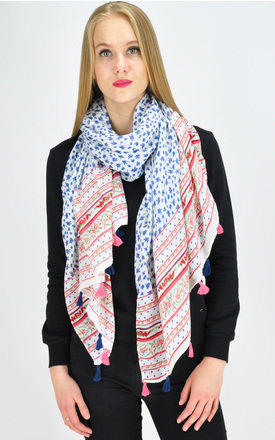 Tassel Scarf in blue/red by GOLDKID LONDON