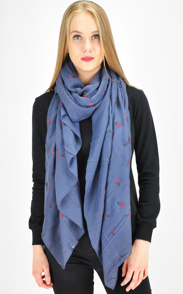 Cherry print scarf in blue by GOLDKID LONDON