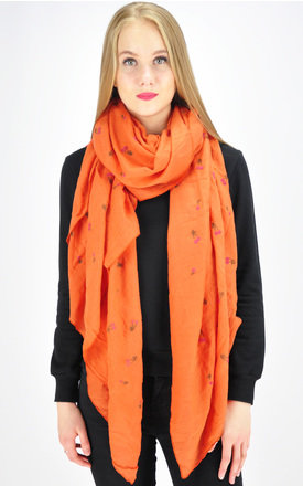 Cherry print scarf in orange by GOLDKID LONDON