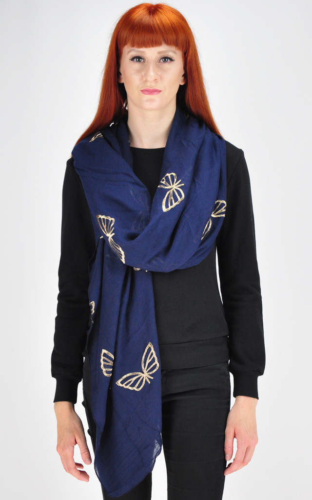 butterfly print scarf in navy by GOLDKID LONDON