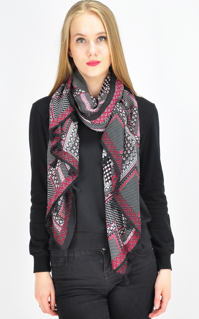 Distric Patterned Tassel Scarf by GOLDKID LONDON