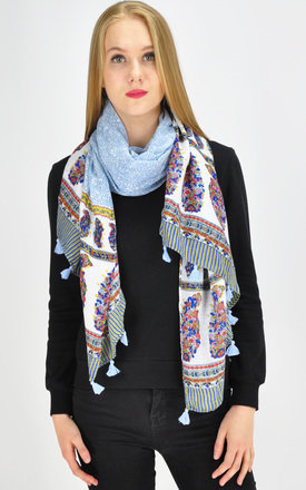 Tassel Scarf in mixed print by GOLDKID LONDON