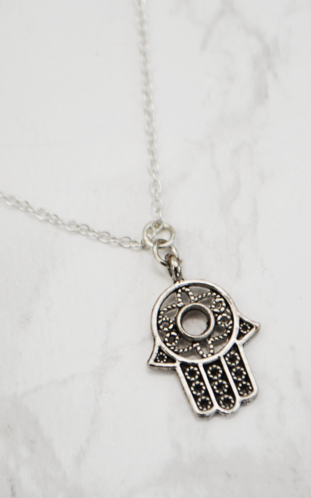 Hamsa Hand Silver Necklace by Wanderdusk