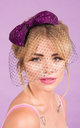 Daphne Bow with Embellished Birdcage Veil in Purple by Stephanieverafter