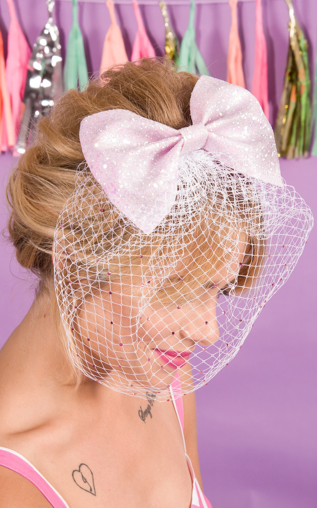 Daphne Bow with Embellished Birdcage Veil in Pink by Stephanieverafter