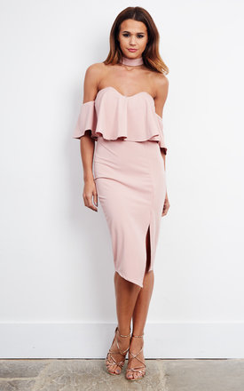 Nude Pink Off The Should Frill Choker Midi Dress by Ginger Fizz Product photo
