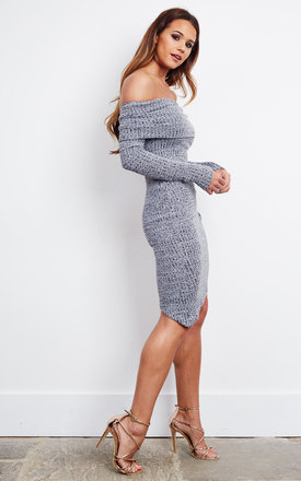 GREY OFF THE SHOULDER LONG SLEEVE MINI DRESS by Parallel Lines