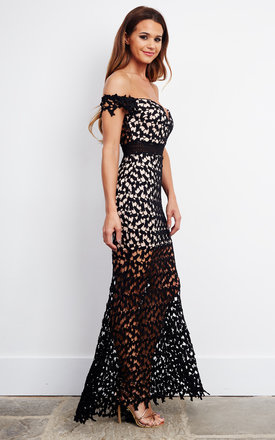 Off the shoulder black lace maxi dress by Love Triangle
