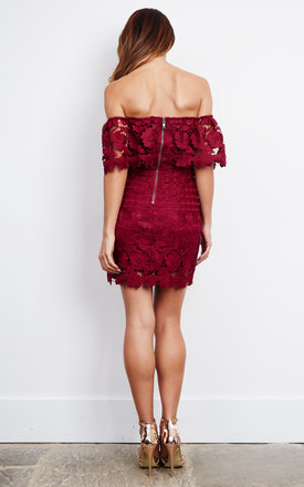 Off The Shoulder Wine Lace Mini Drress by Love Triangle
