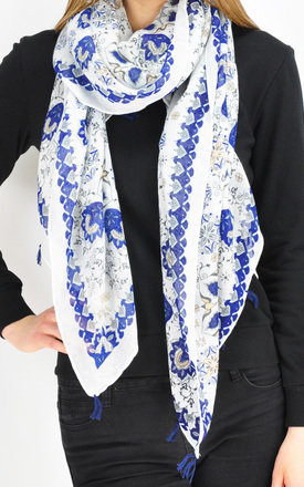 oversized scarf with blue tassels by GOLDKID LONDON