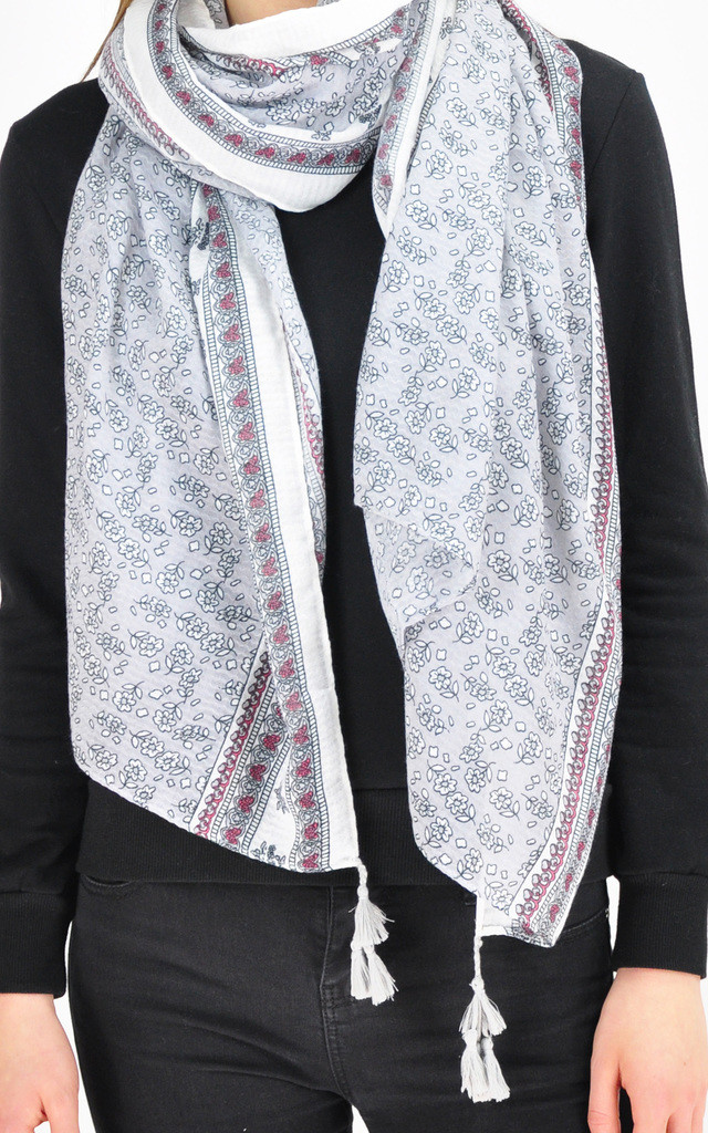 FLORAL PATTERNED TASSEL SCARF by GOLDKID LONDON