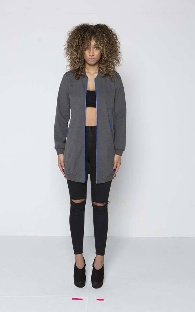 Quillattire Long wool tailored bomber with space lining by Quillattire