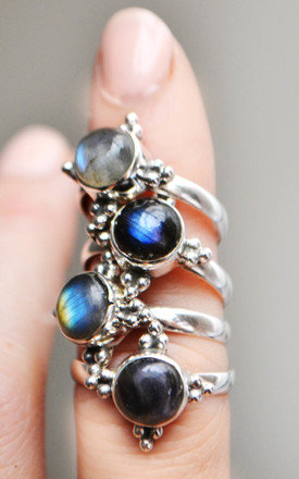 Eevi Labradorite Sterling Silver Four Point Ring by Wanderdusk