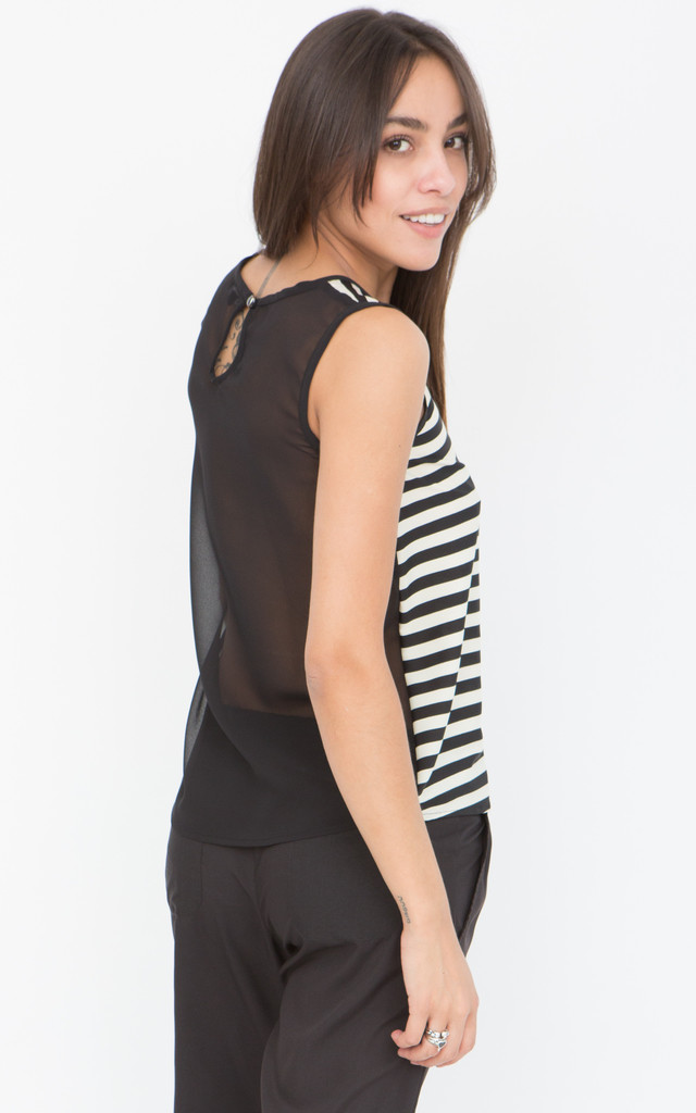 Stripes Cami Tank with Sheer Back by likemary