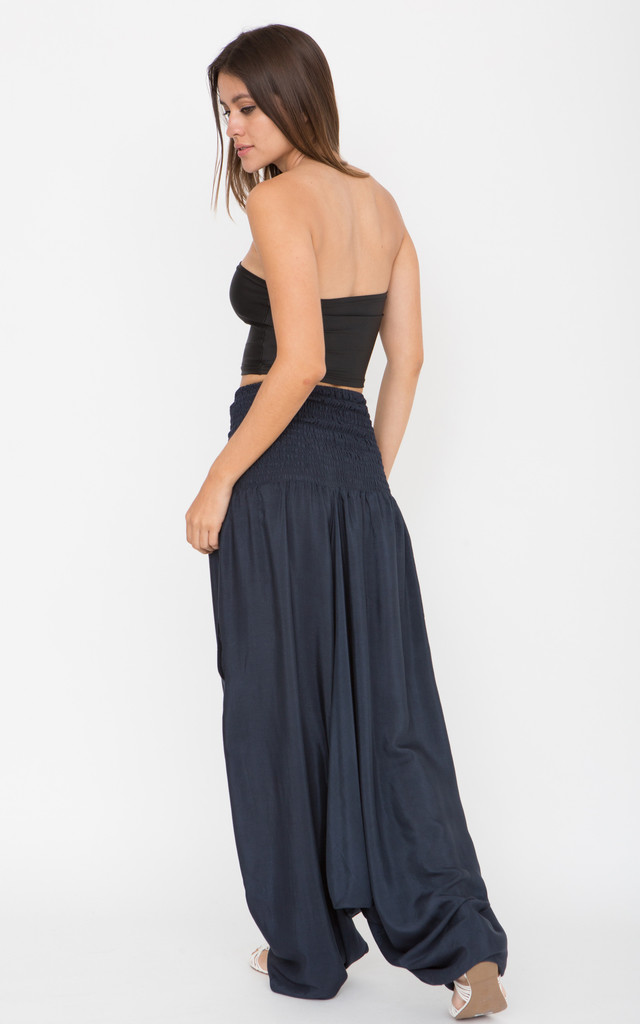 Silk Look Maxi Harem Trouser Jumpsuit Midnight Blue by likemary