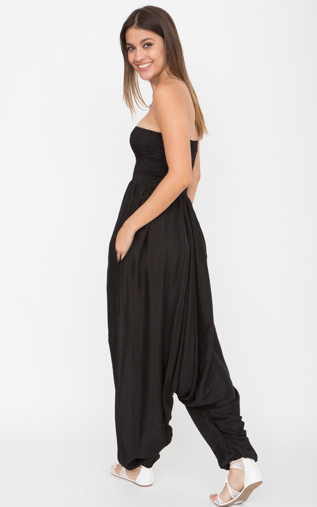Silk Look Harem Jumpsuit & Hareem Pants 2 in 1 Black by likemary