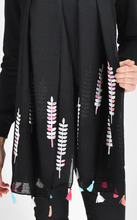 embroidered scarf in black by GOLDKID LONDON