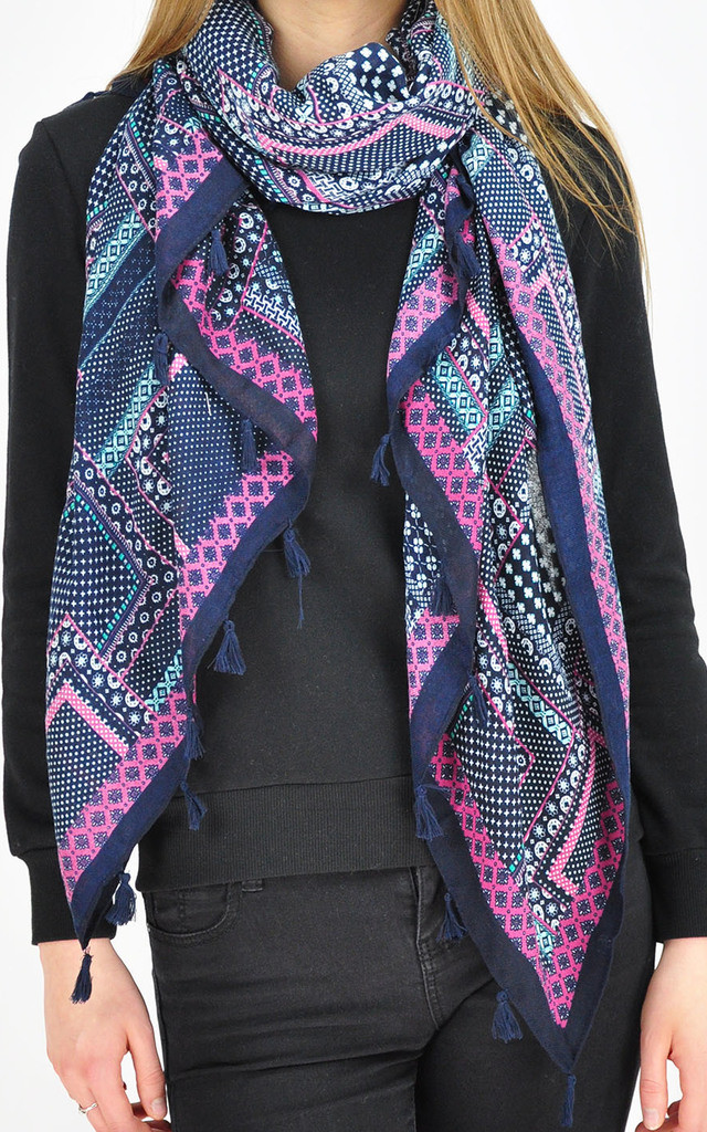 Patterned Tassel Scarf in purple by GOLDKID LONDON