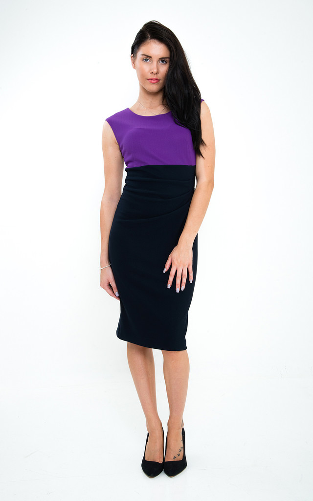 The Caitlin purple/navy Midi by Off the Catwalk