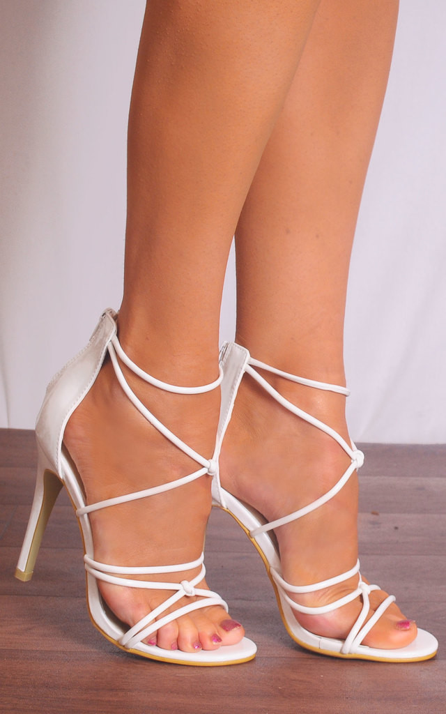 White Patent Barely There Curve Strappy Sandals Stilettos