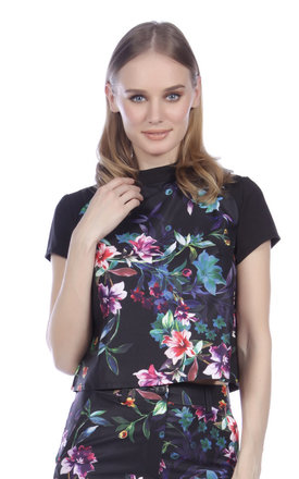 High Neck Floral Top by Cutie London